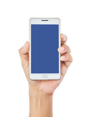 Man hand holding the white smartphone.