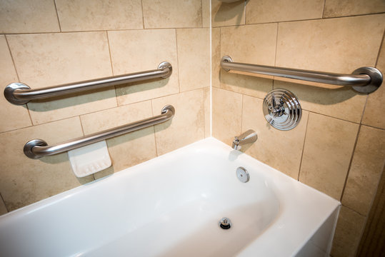 Disability Access Bathtub in a Hotel Room