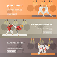 Vector set of horizontal martial arts concept banners, flat style