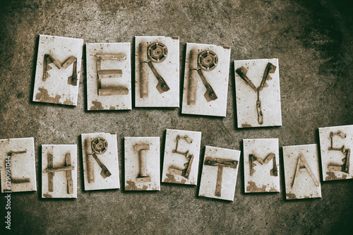 Quot merry christmas old metal letters inscription stock