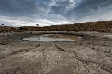 Big funnel of dirt in Arabatskaya strelka, Crimea