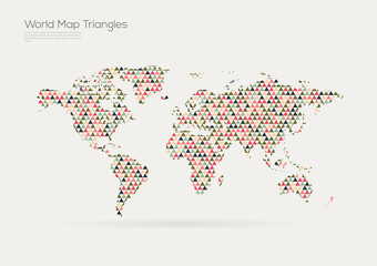 Vector world map design. Triangle pattern continents