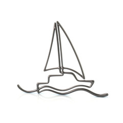 Silver sailboat 3d illustration