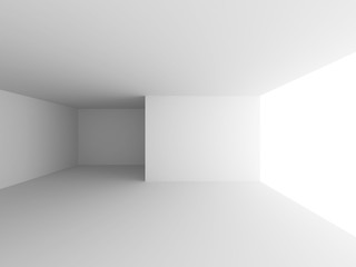 White Room With Window Light. Abstract Interior Background