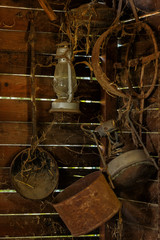 Antique household items in the barn