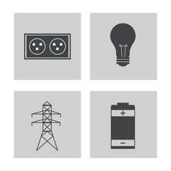 collection electricity power energy icons vector illustration eps 10