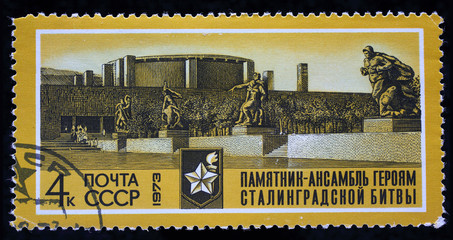 "USSR - CIRCA 1973: Postage stamp of the series ""Monument to the heroes of the Battle of Stalingrad ensemble"" shows Heroes avenue, printed in USSR, circa 1973"