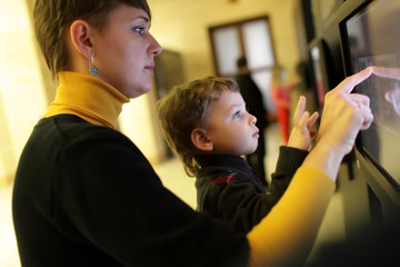 Family using touch screen