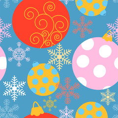 Holiday seamless pattern with different Christmas baubles