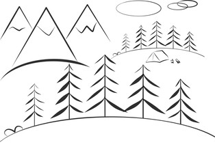 Tourist tent on mountain landscape.