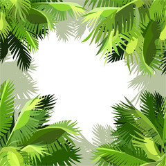 painted background of green palm leaves in the corners