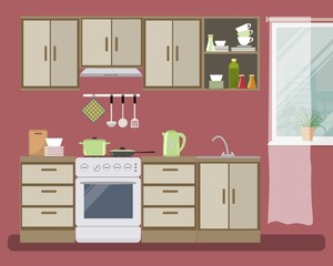 Kitchen in red color. There is a beige furniture, a stove, a fragment of window and other objects in the picture. Vector flat illustration