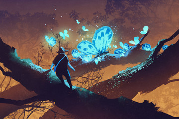 man looking at giant blue butterflies resting on tree branch,illustration painting