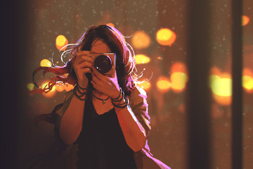 painting of woman with camera on night city background,illustration