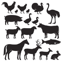 Farm animals silhouette icons. Vector illustrations