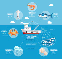Commercial fishing business plan infographics. Fishing boat, jel