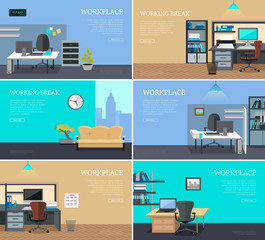 Set of Office Interior Web Banners in Flat Design