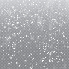 Falling Snow with Snowflakes on Transparent Background | Winter Snowfall Vector Illustration