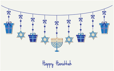 Happy Hanukkah greeting card or background. vector illustration