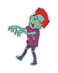 Zombie Character Walking with Stretched Hands
