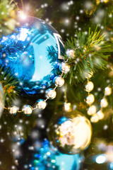 Bright christmas composition with  balls,  background blurry