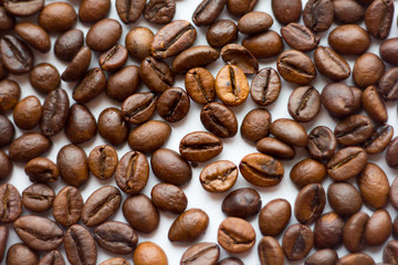 Close up beans on a white background. Coffee  the entire screen for the . Roasted   brown. Lots of  in high definition.