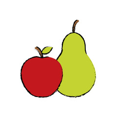 pear with apple fruit icon image vector illustration design