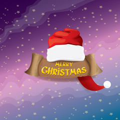 vector red Santa hat greeting text Merry Christmas