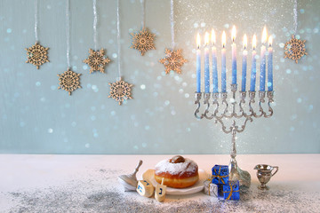 Image of jewish holiday Hanukkah with menorah