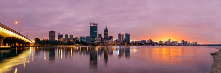 Spectacular sunrise over the city of Perth, Australia