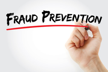 Hand writing Fraud prevention with marker, concept background
