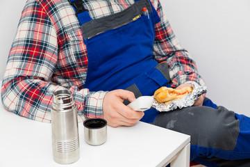 Handwerker Pause Streik Mahlzeit Kaffeepause