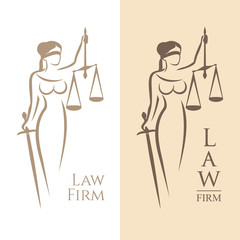 lady justice. Vector illustration of Themis statue holding scales balance and sword isolated on white background and silhouette on colored background. Symbol of justice, law and order