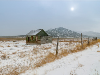 Abandoned Rural Home on the Winter Prairie