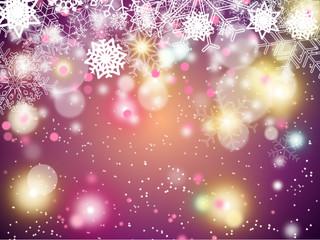 fond de noël violet avec flocons, halo de lumière et effet de bokeh sur demi hauteur