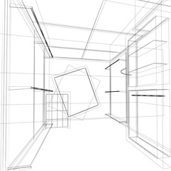 sketch design of interior shop ,3d render