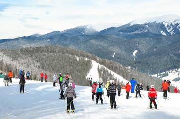 People in the ski resort