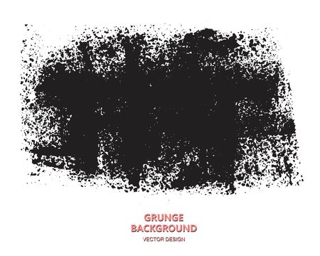 Grunge paint texture. Distress black rough background. Noise dirty rectangle stamp.