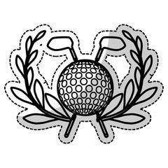 sticker of competition icon of golf sport with ball and sticks elements over white background. vector illustration