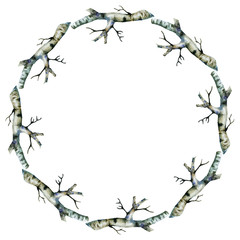Birch watercolor hand painted wreath.