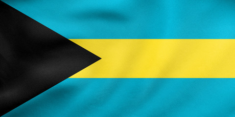 Flag of Bahamas waving, real fabric texture