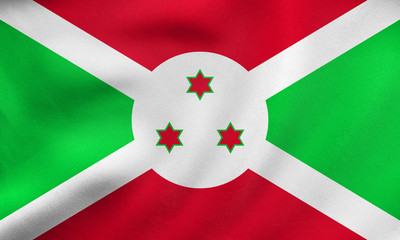 Flag of Burundi waving, real fabric texture