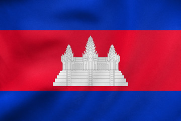 Flag of Cambodia waving, real fabric texture