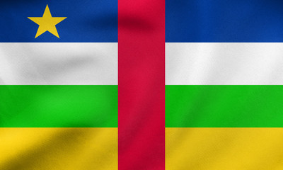 Central African Republic flag wavy, fabric texture