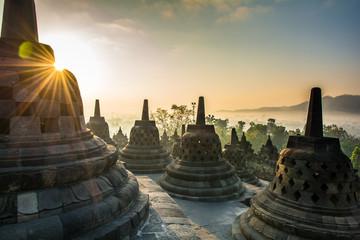 Keuken foto achterwand Monument Sunrise at Borobudur Buddhist Temple, Java Island, Indonesia