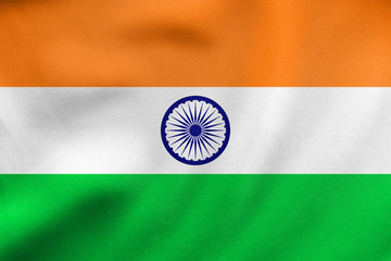 Flag of India waving, real fabric texture