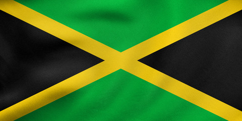 Flag of Jamaica waving, real fabric texture