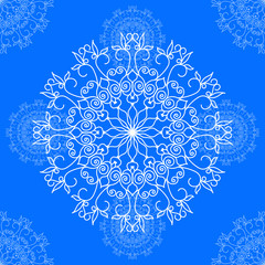 Gzhel. Ornament on Blue Background.