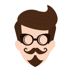 cartoon man face with glasses and mustache icon over white background. hipster style design. vector illustration