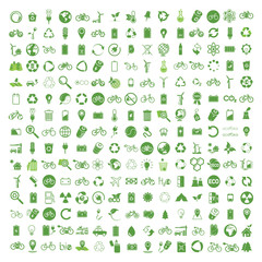 225 ecology & nature green icons set on white background. Vector